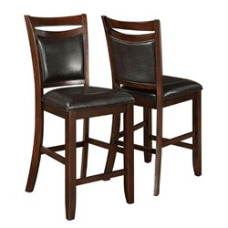 Bowery Hill Faux Leather Upholstered Counter Stool in Dark Cherry