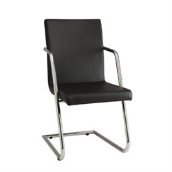 Bowery Hill Faux Leather Contemporary Dining Chair in Black