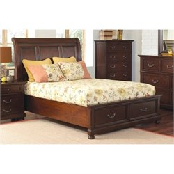 Bowery Hill California King Bed with Storage in Dark Cherry