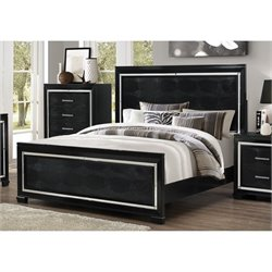 Bowery Hill Faux Leather Bed in Black