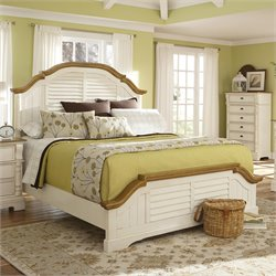 Bowery Hill Panel Bed in Oak and Buttermilk