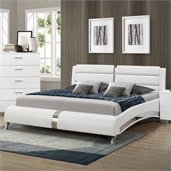 Bowery Hill Faux Leather Bed in White