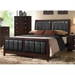Bowery Hill Upholstered Panel Bed in Cappuccino