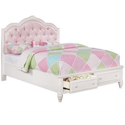 Bowery Hill Tufted Bed with Drawers in White