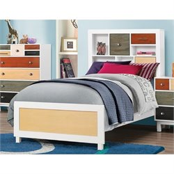 Bowery Hill Twin Bookcase Bed in White