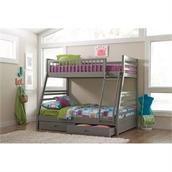 Bowery Hill Twin Over Full Bunk Bed with Drawers in Gray