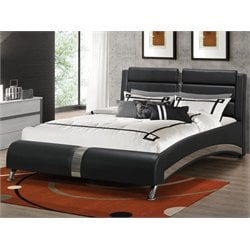 Bowery Hill Upholstered Modern Bed in Black
