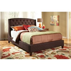 Bowery Hill Upholstered Platform Bed in Brown