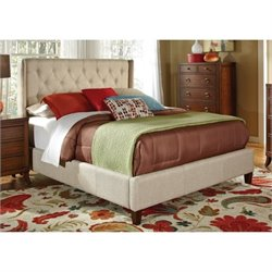 Bowery Hill Upholstered Bed in Beige
