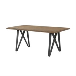Bowery Hill Dining Table with Metal Base in Rustic Taupe