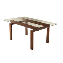 Bowery Hill Glass Top Dining Table in Red Brown