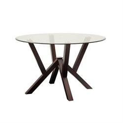 Bowery Hill Round Glass Top Dining Table in Cappuccino