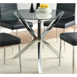 Bowery Hill Contemporary Round Glass Top Dining Table in Chrome