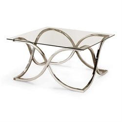 Bowery Hill Square Glass Top Coffee Table in Chrome