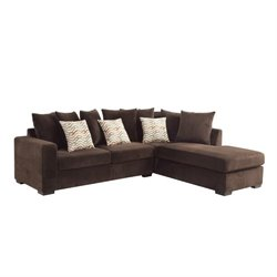Bowery Hill Reversible Upholstered Right Facing Sectional in Chocolate
