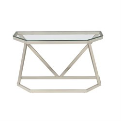 Bowery Hill Glass Top Metal Console Table in Nickel