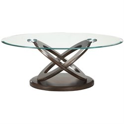 Bowery Hill Round Glass Top Coffee Table in Espresso