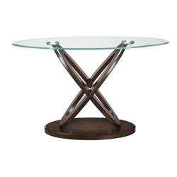 Bowery Hill Glass Top Console Table in Espresso