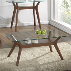 Bowery Hill Glass Top Coffee Table in Nutmeg