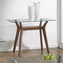 Bowery Hill Glass Top Console Table with Shelf in Nutmeg