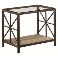 Bowery Hill Glass Top End Table in Black Brush Gold