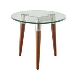 Bowery Hill Round Glass Top End Table in Nickel