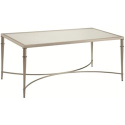 Bowery Hill Glass Top Coffee Table in Nickel
