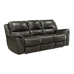 Bowery Hill Leather Reclining Sofa with Pillow Arms in Charcoal