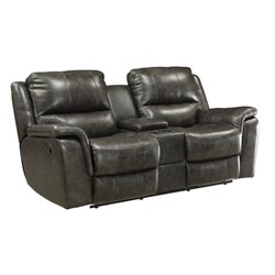 MER-757 Bowery Hill Leather Reclining Love Seat with Console in Charcoal