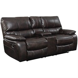 Bowery Hill Faux Leather Reclining Loveseat with Storage in Chocolate