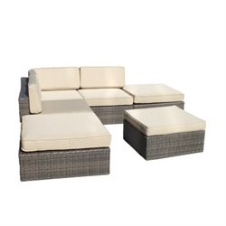 Bowery Hill 6 Piece Rattan Patio Sectional Set in Brown and Beige