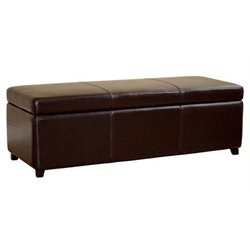 Bowery Hill Leather Storage Bench Ottoman in Dark Brown
