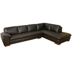 Bowery Hill 2 Piece Leather Right Facing Sectional in Black
