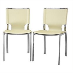 Bowery Hill Leather Dining Chair in Ivory (Set of 2)