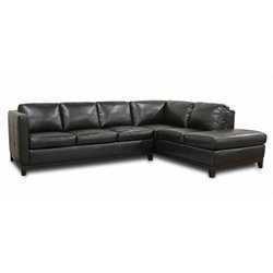 Bowery Hill Leather Right Facing Sectional in Black