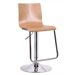 Bowery Hill Adjustable Swivel Bar Stool in Nature (Set of 2)