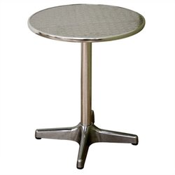 Bowery Hill Round Steel Pub Table in Silver (Set of 2)
