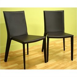 Bowery Hill Leather Dining Chair in Brown (Set of 2)