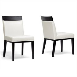 Bowery Hill Leather Dining Chair in Cream (Set of 2)