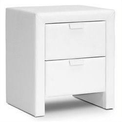 Bowery Hill Faux Leather Nightstand in White