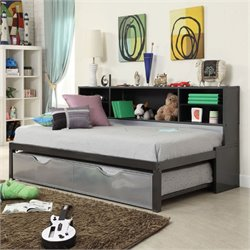 Bowery Hill Twin Bookcase Bed with Trundle in Black and Silver