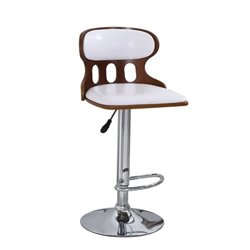 Bowery Hill Swivel Adjustable Bar Stool in White (Set of 2)
