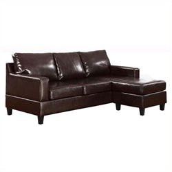 Bowery Hill Leather Right Facing Sectional in Espresso