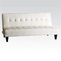 Bowery Hill Faux Leather Convertible Sofa in White