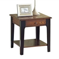 Bowery Hill End Table in Brown Oak and Black