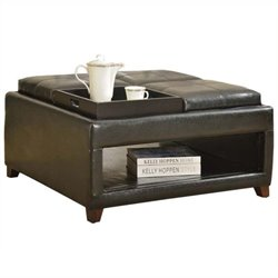 Bowery Hill Faux Leather Oversized Ottoman in Dark Brown
