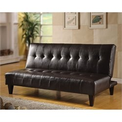 Bowery Hill Faux Leather Convertible Sofa in Espresso