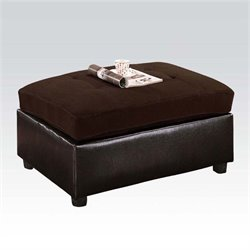 Bowery Hill Faux Leather Ottoman in Chocolate