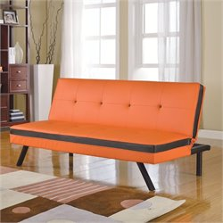 Bowery Hill Faux Leather Convertible Sofa in Orange and Black