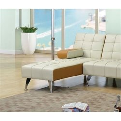 Bowery Hill Faux Leather Chaise Lounge in Beige and Brown